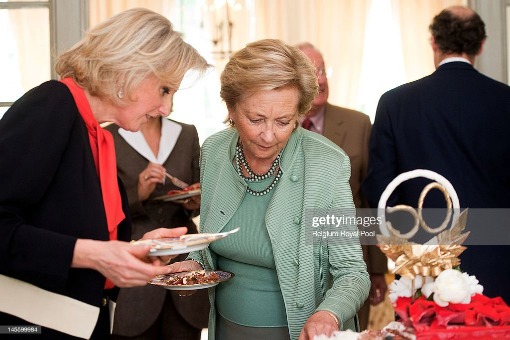 Princess Astrid and Queen Paola of Belgium assist Princess Astrid's 50th birthday at Schonenberg Residence on June 2, 2012 in Brussels, Belgium.