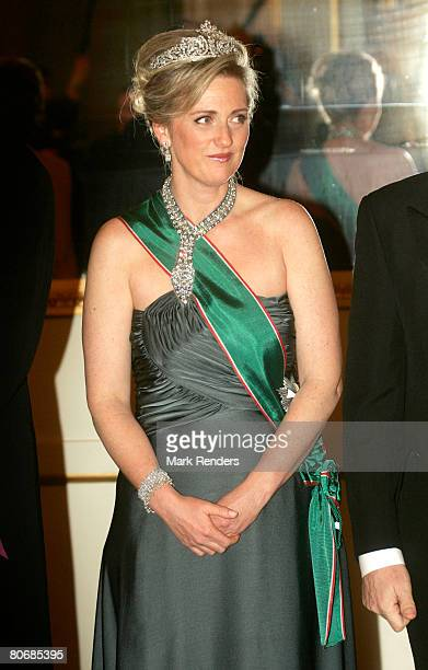 Princess Astrid from Belgium poses for a photo before a gala dinner at the Brussels Royal Palace on April 15 2008 in Brussels BelgiumThe Hungarian...