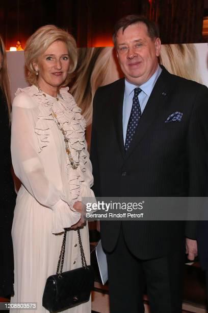 Princess Astrid of Belgium and Ambassador of Belgium to France Francois de Kerchove d'Exaerde attend the Regine Mahaux : Exhibition at Hotel Raphael...