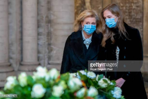 Princess Astrid of Belgium and her daughter Princess Laetitia-Maria attend the Annual Memorial Mass for the deceased members of the Royal Family in...