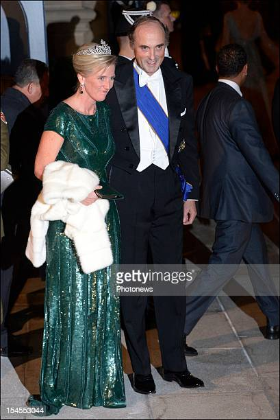 Princess Astrid of Belgium and Prince Lorenz of Belgium arrive at the Gala Dinner for the wedding of Prince Guillaume Of Luxembourg and Stephanie de...