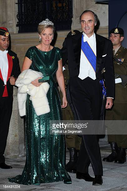 Princess Astrid of Belgium and Prince Lorenz of Belgium attend the Gala dinner for the wedding of Prince Guillaume Of Luxembourg and Stephanie de...