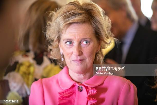 Princess Astrid of Belgium arrives in the Royal Palace prior to a meeting with the International Queen Elisabeth Music Concurs members of the jury on...