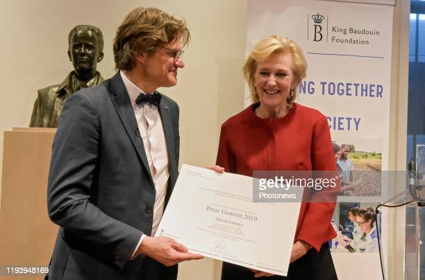 Princess Astrid of Belgium attends the Award ceremony of the Generet Prize for rare diseases with Steven Laureys on January 16, 2020 in Brussels,...