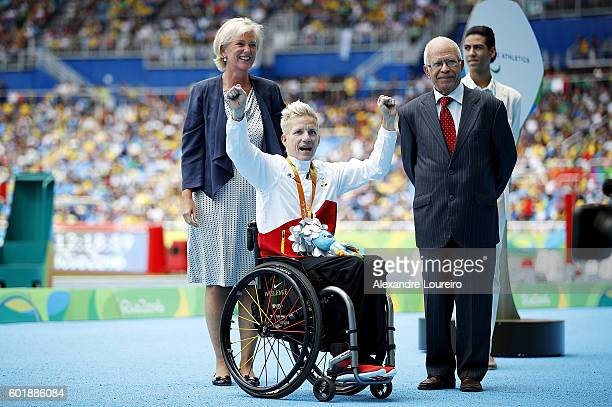 Princess Astrid of Belgium during the medal ceremony for the Womenâs 400m â T52 Final during day 3 of the Rio 2016 Paralympic Games at the Olympic...