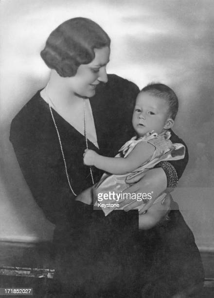 Princess Astrid Of Belgium holds her son Prince Albert of Belgium later King Albert II of Belgium 1935