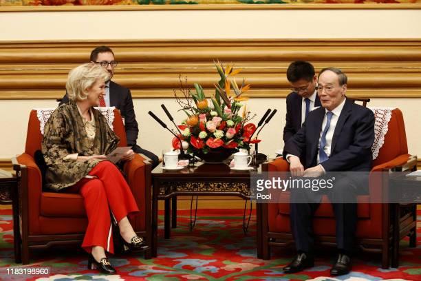 Princess Astrid of Belgium meets Chinese Vice President Wang Qishan at the Zhongnanhai leadership compound on November 18, 2019 in Beijing, China....