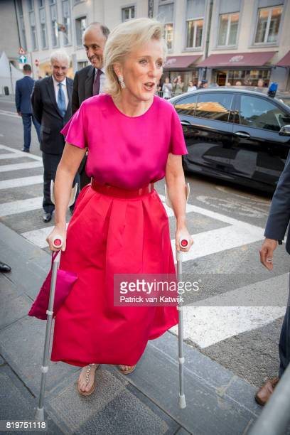 Princess Astrid of Belgium on crutches and Prince Lorenz of Belgium arrive at Bozar the Centre for Fine Arts to attend the concert the evening before...
