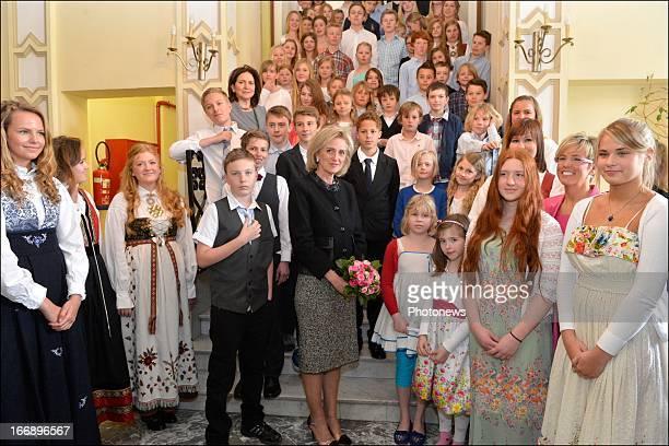 Princess Astrid of Belgium poses during her visit to the Scandinavian School of Belgium on April 18, 2013 in Ostende, Belgium.
