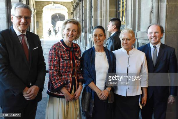 Princess Astrid of Belgium poses with Head of Government of Mexico City Claudia Sheinbaum before a ceremony to grant Princess Astrid the title of...