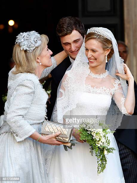Princess Astrid of Belgium Prince Amedeo of Belgium and the bride Elisabetta Maria Rosboch von Wolkenstein celebrate after the wedding ceremony at...