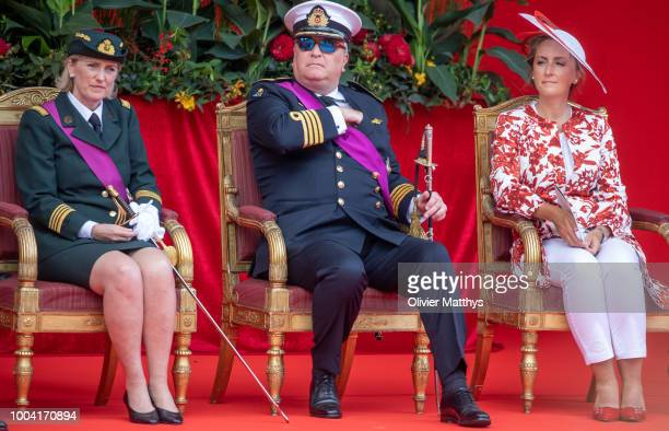 Princess Astrid of Belgium, Prince Laurent and Princess Claire attend the National day Parade on July 21, 2018 in Brussels, Belgium.