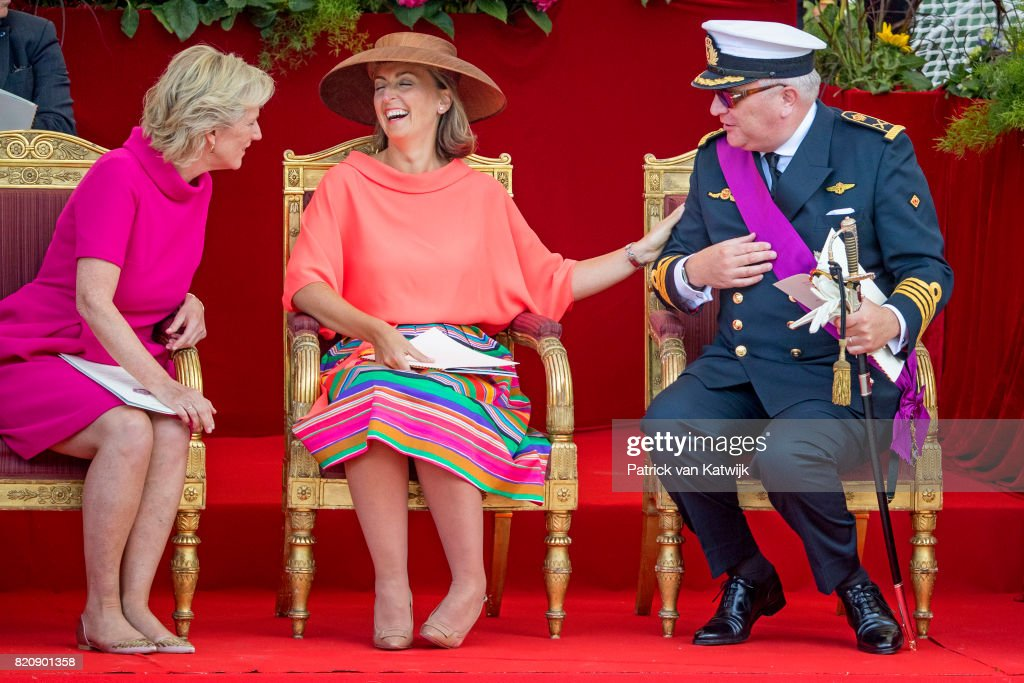 Princess Astrid of Belgium, Prince Laurent of Belgium and Princess Claire of Belgium attend the military parade on the occasion of the Belgian National Day in the front of the Royal Palace on July 21, 2017 in Brussels, Belgium.