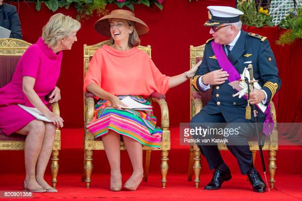 Princess Astrid of Belgium, Prince Laurent of Belgium and Princess Claire of Belgium attend the military parade on the occasion of the Belgian...