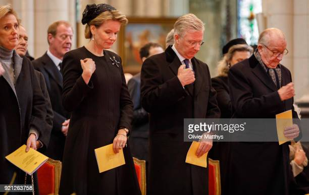 Princess Astrid of Belgium Queen Mathilde of Belgium King Philippe of Belgium and King Albert II of Belgium attend a mass commemoration at Our Lady...