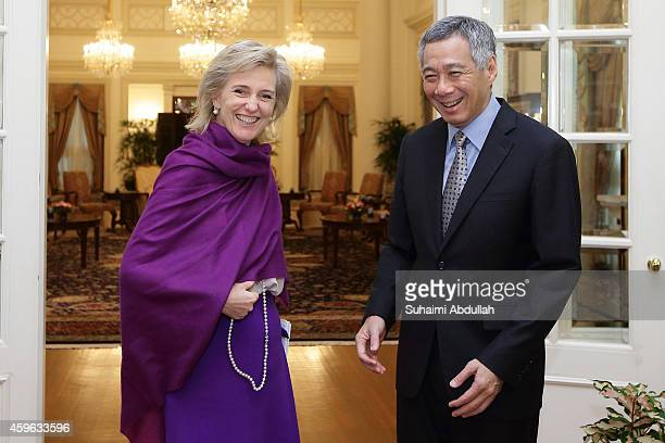 Princess Astrid of Belgium visits Prime Minister of Singapore Lee Hsien Loong at the Istana on November 27 2014 in Singapore Princess Astrid of...
