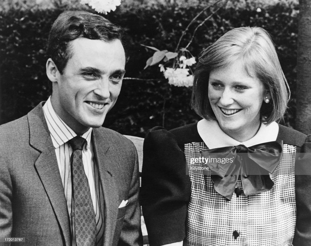 Princess Astrid of Belgium with her fiance, Prince Lorenz, Archduke of Austria-Este (later Prince Lorenz of Belgium) in the grounds of the Chateau of Belvedere, Brussels, 13th May 1984.