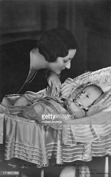 Princess Astrid Of Belgium with her son Prince Albert of Belgium later King Albert II of Belgium circa 1934