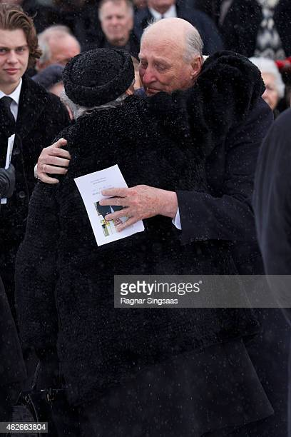 Princess Astrid of Norway and King Harald V of Norway attend the Funeral Service of Mr Johan Martin Ferner on February 2, 2015 in Oslo, Norway.