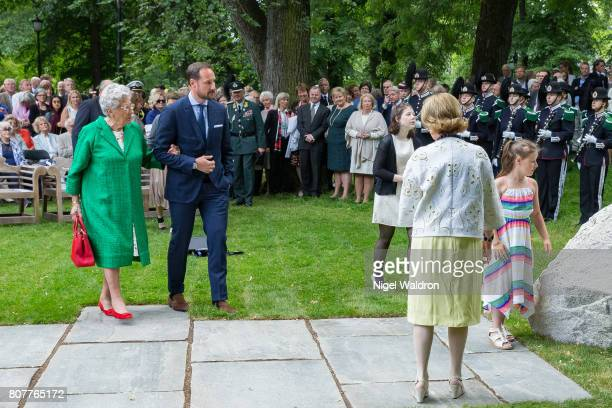 Princess Astrid of Norway, Prince Haakon of Norway, Maud Angelica Behn of Norway, Emma Tallulah Behn of Norway and Queen Sonja of Norway attend the...