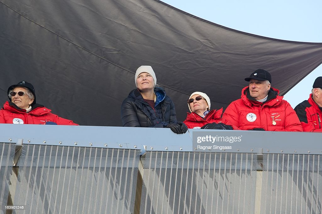 Princess Astrid of Norway, Princess Mette-Marit of Norway, Queen Sonja of Norway and King Harald V of Norway attend FIS World Cup Nordic Holmenkollen 2013 on March 17, 2013 in Oslo, Norway.