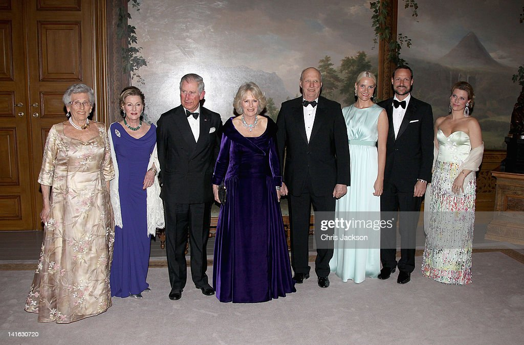 Princess Astrid of Norway, Queen Sonja of Norway, Prince Charles, Prince of Wales, Camilla, Duchess of Cornwall, King Harald of Norway, Crown Princess Mette-Marit of Norway,Crown Prince Haakon of Norway and Princess Martha-Louise of Norway attends an official dinner at the Norwegian Royal Palace on March 20, 2012 in Oslo, Norway. Prince Charles, Prince of Wales and Camilla, Duchess of Cornwall are on a Diamond Jubilee tour of Scandinavia that takes in Norway, Sweden and Denmark.