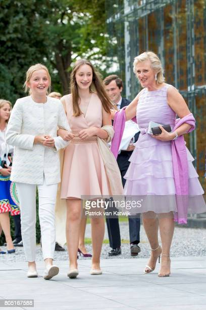 Princess Astrid Princess Laetitia Maria and Princess Louise of Belgium attend the 80th birthday celebrations of Belgian Queen Paola on June 29 2017...
