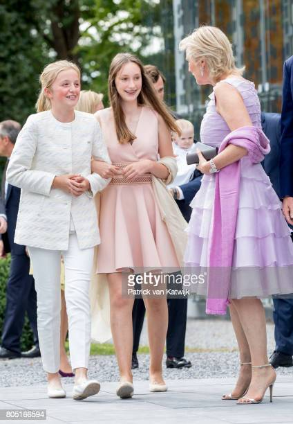 Princess Astrid Princess Louise and Princess Laetitia Maria of Belgium attend the 80th birthday celebrations of Belgian Queen Paola on June 29 2017...