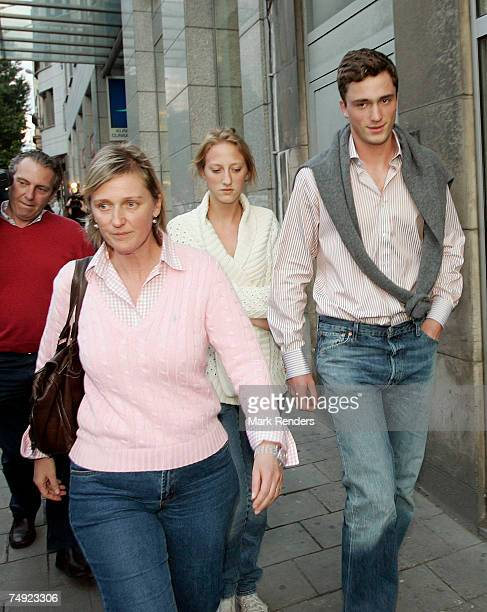 Princess Astrid, Princess Maria- Laura and Prince Amadeo of Belgium leave the Saint Jean Hospital after visiting King Albert of Belgium who suffered...