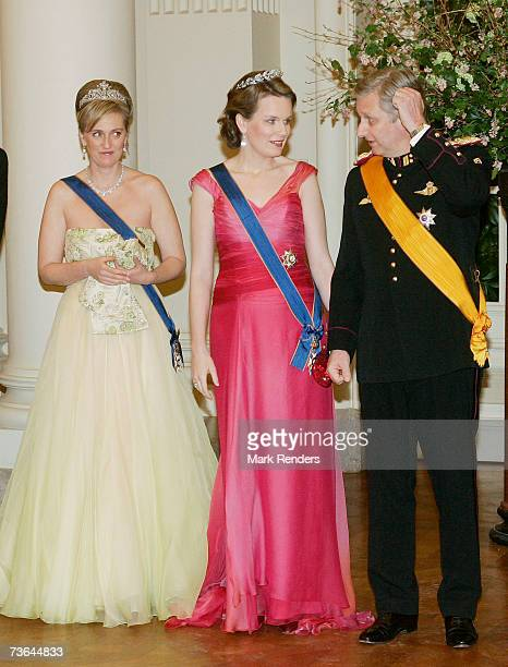 Princess Astrid Princess Mathilde and Prince Philippe pose for a photo at Laeken Castle on March 20 2007 in Brussels Belgium The Grand Duke From...