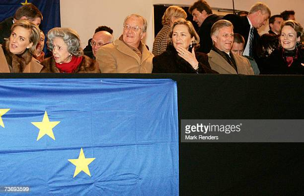 Princess Astrid Queen Fabiola King Albert Queen Paola Prince Philippe and Princess Mathilde of Belgium attend a concert at Heysel stadium for a...