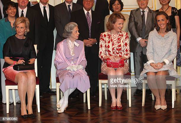 Princess Astrid Queen Fabiola Princess Mathilde and Princess Claire from Belgium prepare for a group photo during the Queen Elisabeth International...