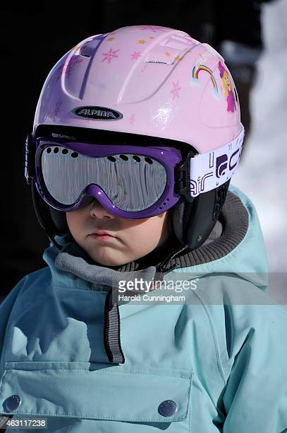 Princess Athena of Denmark attends the Danish Royal family annual skiing photocall whilst on holiday on February 10, 2015 in Col-de-Bretaye near...