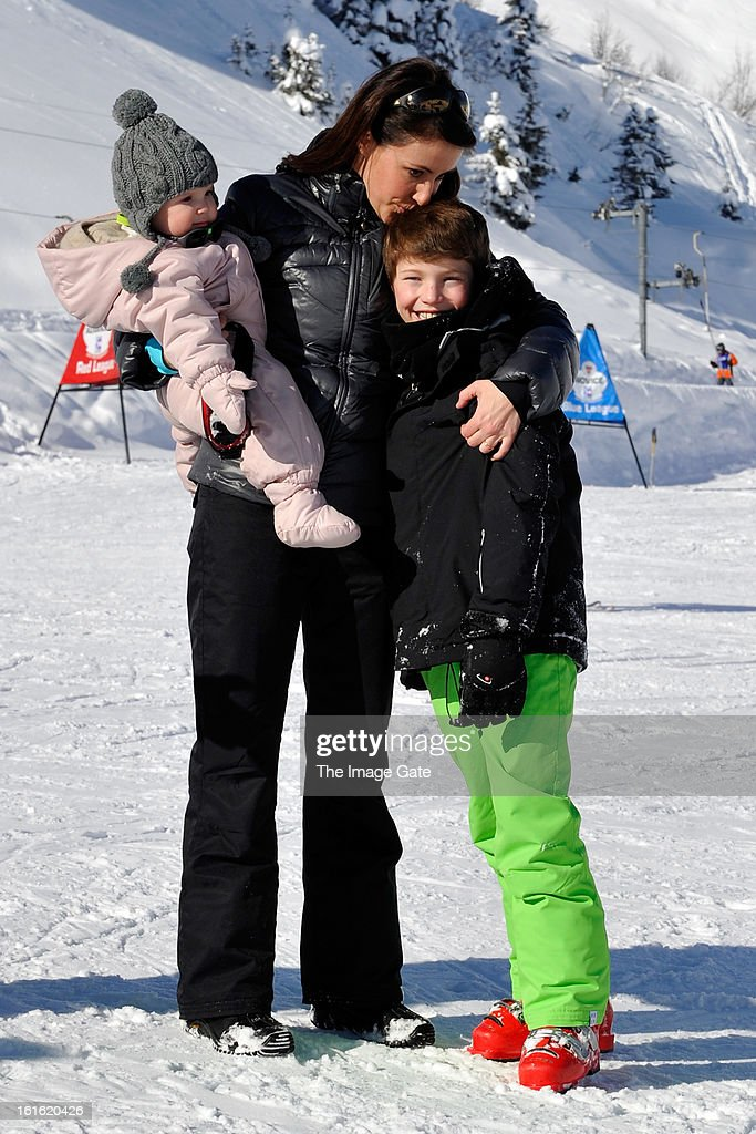 Princess Athena of Denmark, Princess Marie of Denmark and Prince Felix of Denmark meet the press, whilst on skiing holiday in Villars on February 13, 2013 in Villars-sur-Ollon, Switzerland.