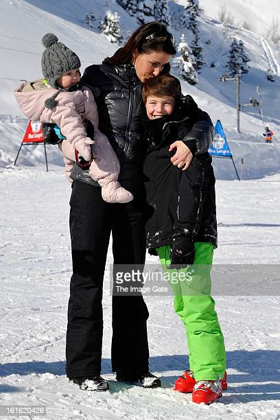 Princess Athena of Denmark Princess Marie of Denmark and Prince Felix of Denmark meet the press whilst on skiing holiday in Villars on February 13...
