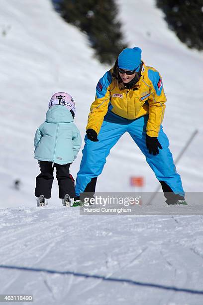 Princess Athena of Denmark takes skiing lessons after the Danish Royal family annual skiing photocall whilst on holiday on February 10 2015 in...