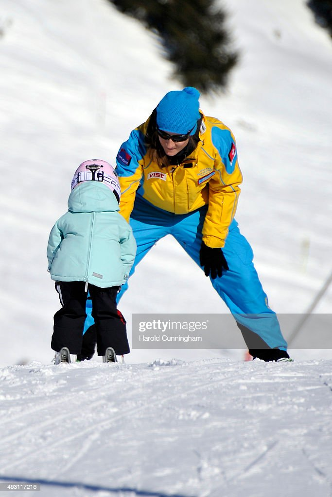 Princess Athena of Denmark (L) takes skiing lessons after the Danish Royal family annual skiing photocall whilst on holiday on February 10, 2015 in Col-de-Bretaye near Villars-sur-Ollon, Switzerland.