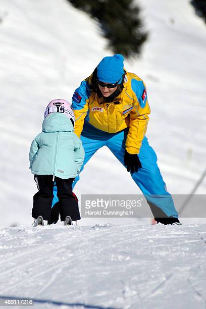 Princess Athena of Denmark takes skiing lessons after the Danish Royal family annual skiing photocall whilst on holiday on February 10, 2015 in...