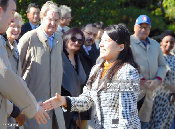 Princess Ayako of Takamado shakes hands with a guest as she invites foreign diplomats and their partners to Shinhama Kamoba on November 16 2017 in...