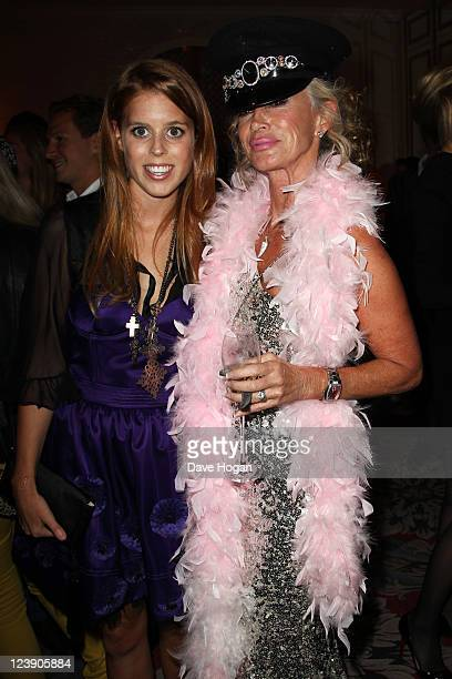 Princess Beatrice and Angie Rutherford attend the Freddie For A Day 65th birthday anniversary at The Savoy Hotel on September 5 2011 in London United...