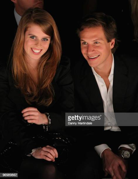 Princess Beatrice and boyfriend Dave Clark on the front row at the Issa London show for London Fashion Week Autumn/Winter 2010 at Somerset House on...