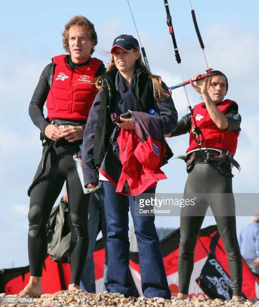 Princess Beatrice and boyfriend Dave Clark watch as Richard Branson prepares to Kite Surf across the English Channel on August 24 2010 in Dungeness...