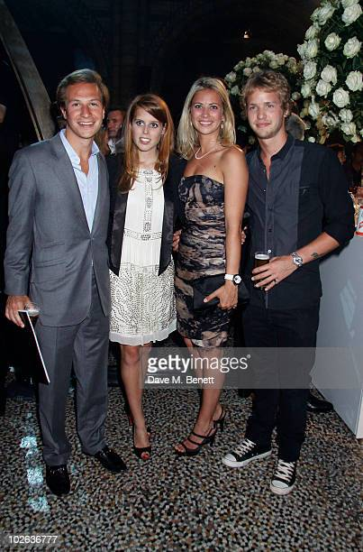 Princess Beatrice and boyfriend Dave Clark with Holly and Sam Branson attend the Formula One party at the Natural History Museum on July 52010 in...