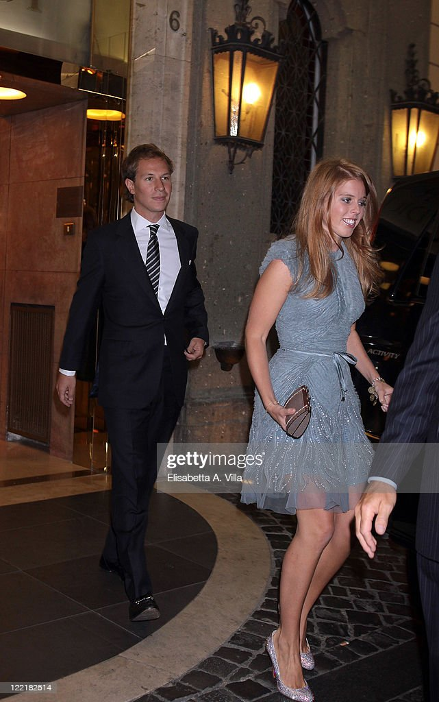 Princess Beatrice (R) and Dave Clark sighted leaving the Hassler Hotel ahead of the wedding of Petra Ecclestone and James Stunt on August 26, 2011 in Rome, Italy.