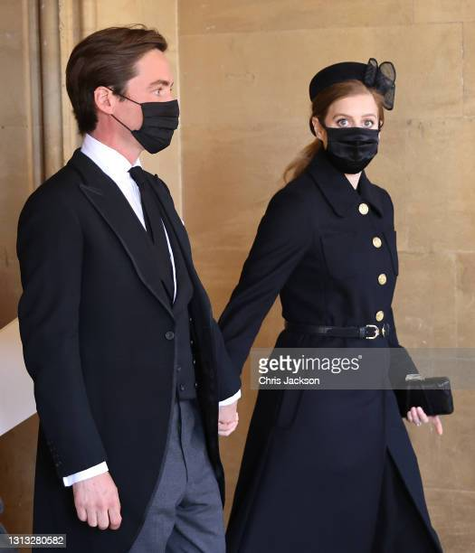 Princess Beatrice and Edoardo Mapelli Mozzi attend the funeral of Prince Philip, Duke of Edinburgh at Windsor Castle on April 17, 2021 in Windsor,...