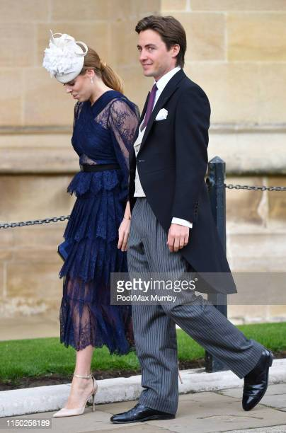 Princess Beatrice and Edoardo Mapelli Mozzi attend the wedding of Lady Gabriella Windsor and Thomas Kingston at St George's Chapel on May 18, 2019 in...