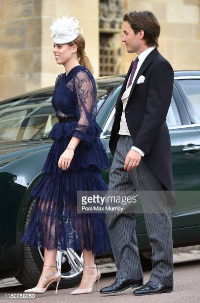 Princess Beatrice and Edoardo Mapelli Mozzi attend the wedding of Lady Gabriella Windsor and Thomas Kingston at St George's Chapel on May 18 2019 in...