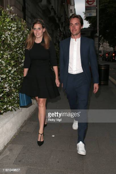 Princess Beatrice and Edoardo Mapelli Mozzi seen on a night out at Annabel's on July 09 2019 in London England