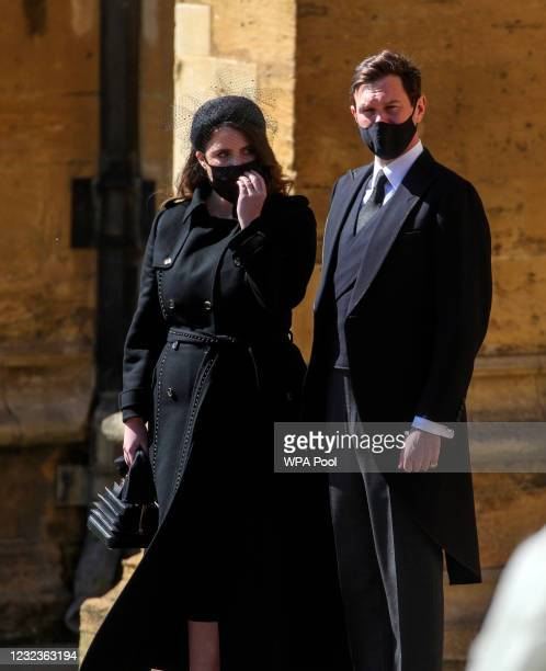 Princess Beatrice and Edoardo Mapelli Mozzi watch the Ceremonial Procession during the funeral of Britain's Prince Philip, Duke of Edinburgh at...