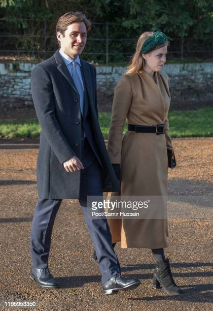 Princess Beatrice and Edoardo Mapelli Mozziconi attend the Christmas Day Church service at Church of St Mary Magdalene on the Sandringham estate on...